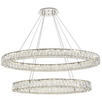 Elegant Lighting 3503D40C Monroe LED 41 inch Chrome Chandelier Ceiling Light