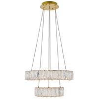 Elegant Lighting 3503G18G Monroe LED 18 inch Gold Pendant Ceiling Light