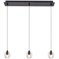 Elegant Lighting 3505D28BK Eren 3 Light 28 inch Black Linear Pendant Ceiling Light