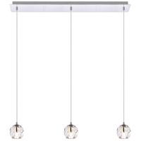 Elegant Lighting 3505D28C Eren 3 Light 28 inch Chrome Linear Pendant Ceiling Light