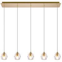 Elegant Lighting 3505D32G Eren 5 Light 32 inch Gold Linear Pendant Ceiling Light