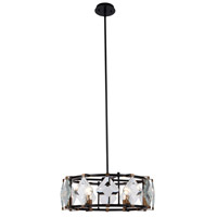 Endicott 6 Light 24 inch Flat Black and Burnished Brass Chandelier Ceiling Light, Urban Classic
