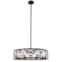 Elegant Lighting 4000D30FB Endicott 8 Light 31 inch Flat Black and Burnished Brass Chandelier Ceiling Light Urban Classic