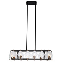 Elegant Lighting 4001D35FB Endicott 8 Light 11 inch Flat Black and Burnished Brass Chandelier Ceiling Light Urban Classic