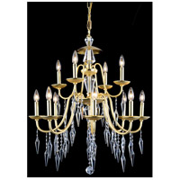 Gracieux 12 Light 28 inch Polished Gold Chandelier Ceiling Light in Elegant Cut