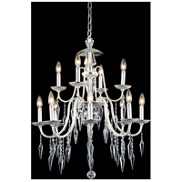 Gracieux 12 Light 28 inch Polished Silver Chandelier Ceiling Light in Elegant Cut