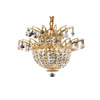 Elegant Lighting Flora 3 Light Chandelier in Gold with Strass Swarovski Clear Crystals 5800D15G/SS