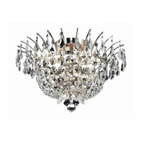 Elegant Lighting Flora 6 Light Flush Mount in Chrome with Elegant Cut Clear Crystals 5800F19C/EC