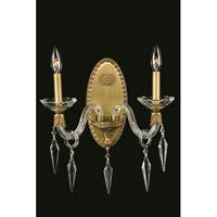 Elegant Lighting 5802W13FG/SS Grande 2 Light 13 inch French Gold Wall Sconce Wall Light in Swarovski Elements