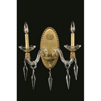 Elegant Lighting Grande 2 Light Wall Sconce in French Gold with Elegant Cut Clear Crystal 5802W13FG/EC