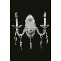 Elegant Lighting Grande 2 Light Wall Sconce in Pewter with Elegant Cut Clear Crystal 5802W13PW/EC