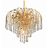 Elegant Lighting Falls 6 Light Dining Chandelier in Gold with Royal Cut Clear Crystal 6801D19G/RC photo thumbnail