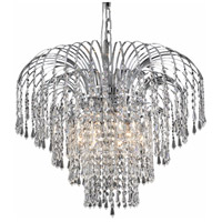 Elegant Lighting Falls 6 Light Dining Chandelier in Chrome with Elegant Cut Clear Crystal 6801D21C/EC