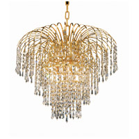 Elegant Lighting Falls 6 Light Dining Chandelier in Gold with Swarovski Strass Clear Crystal 6801D21G/SS