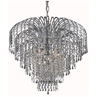 Elegant Lighting Falls 6 Light Dining Chandelier in Chrome with Elegant Cut Clear Crystal 6801D25C/EC