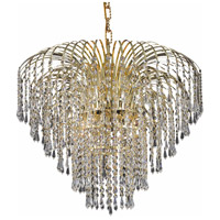 Elegant Lighting Falls 6 Light Dining Chandelier in Gold with Swarovski Strass Clear Crystal 6801D25G/SS