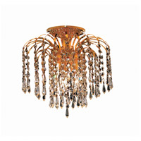 Elegant Lighting Falls 3 Light Flush Mount in Gold with Swarovski Strass Clear Crystal 6801F12G/SS