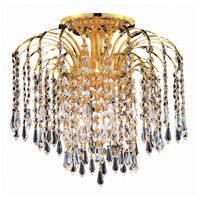 Elegant Lighting Falls 4 Light Flush Mount in Gold with Swarovski Strass Clear Crystal 6801F16G/SS