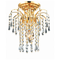 Elegant Lighting Falls 1 Light Flush Mount in Gold with Royal Cut Clear Crystal 6801F9G/RC photo thumbnail