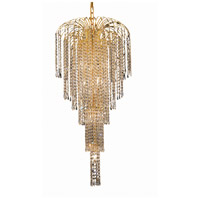 Elegant Lighting Falls 9 Light Foyer in Gold with Elegant Cut Clear Crystal 6801G19G/EC