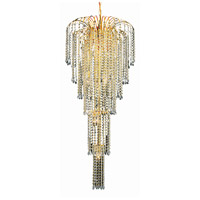 Elegant Lighting V6801G21G/SA Falls 9 Light 21 inch Gold Foyer Ceiling Light in Spectra Swarovski