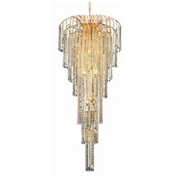 Elegant Lighting Falls 11 Light Foyer in Gold with Elegant Cut Clear Crystal 6801G25G/EC