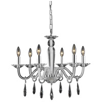 Elegant Lighting Avalon 6 Light Dining Chandelier in White with Elegant Cut Clear Crystal 6906D23WH/EC