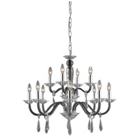 Elegant Lighting Avalon 12 Light Dining Chandelier in Black with Elegant Cut Clear Crystal 6912D29B/EC