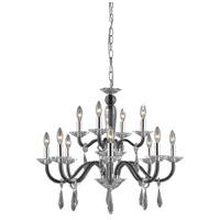 Elegant Lighting 6912D29B/EC Avalon 12 Light 30 inch Black Dining Chandelier Ceiling Light in Elegant Cut