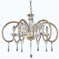 Elegant Lighting Scroll 6 Light Chandelier in Gold with Swarovski Elements Clear Crystal 6926D33G/SS