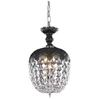 Elegant Lighting Rococo 1 Light Pendant in Black with Royal Cut Jet Black Crystal 7801D8B/RC