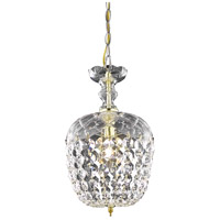 Elegant Lighting Rococo 1 Light Pendant in Gold with Royal Cut Clear Crystal 7801D8G/RC