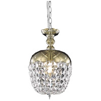 Elegant Lighting Rococo 1 Light Pendant in Golden Teak with Royal Cut Golden Teak Crystal 7801D8GT/RC