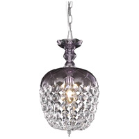 Elegant Lighting Rococo 1 Light Pendant in Purple with Royal Cut Clear Crystal 7801D8PE/RC