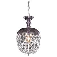 Elegant Lighting V7801D8PE/RC Rococo 1 Light 8 inch Purple Pendant Ceiling Light in Clear