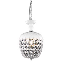 Elegant Lighting Rococo 1 Light Pendant in White with Royal Cut Clear Crystal 7801D8WH/RC