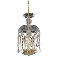 Elegant Lighting Rococo 3 Light Pendant in Gold with Royal Cut Clear Crystal 7803D11G/RC