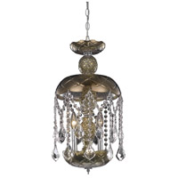 Elegant Lighting Rococo 3 Light Pendant in Golden Teak with Royal Cut Golden Teak Crystal 7803D11GT/RC