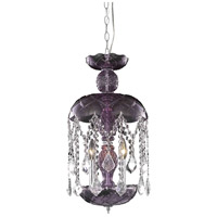 Elegant Lighting Rococo 3 Light Pendant in Purple with Royal Cut Clear Crystal 7803D11PE/RC