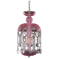 Elegant Lighting Rococo 3 Light Pendant in Pink with Royal Cut Clear Crystal 7803D11PK/RC