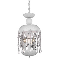Elegant Lighting Rococo 3 Light Pendant in White with Royal Cut Clear Crystal 7803D11WH/RC