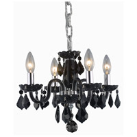 Rococo 4 Light 15 inch Black Dining Chandelier Ceiling Light in Jet Black, (None)