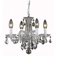 Rococo 4 Light 15 inch Chrome Dining Chandelier Ceiling Light in Clear, (None)