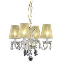 Rococo 4 Light 15 inch Gold Dining Chandelier Ceiling Light in Clear, Gold Shade