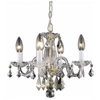 Rococo 4 Light 15 inch Gold Dining Chandelier Ceiling Light in Clear, (None)