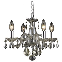 Elegant Lighting Rococo 4 Light Pendant in Golden Teak with Royal Cut Golden Teak Crystal 7804D15GT-GT/RC