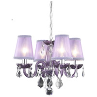 Rococo 4 Light 15 inch Purple Dining Chandelier Ceiling Light in Clear, Purple Shade