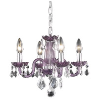 Elegant Lighting Rococo 4 Light Pendant in Purple with Royal Cut Clear Crystal 7804D15PE/RC