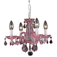Rococo 4 Light 15 inch Pink Dining Chandelier Ceiling Light in Rosaline, (None)