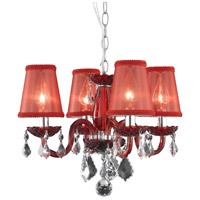 Rococo 4 Light 15 inch Red Dining Chandelier Ceiling Light in Clear, Red Shade